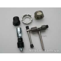 Набор ключи сьемники для велосипеда инструмент сьемник шатунов, цепи (выжимка), трещотки, каретки, спицной ключ