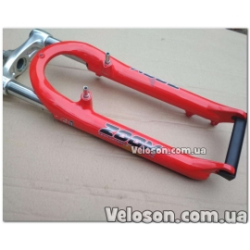 """Вилка 26"""" Zoom 550 модель алюминиевые """"ноги"""" Тайвань под дисковый тормоз и под V-brake черная / красная"""